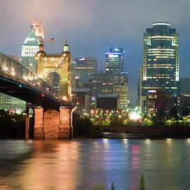 Gregory Ballos - Cincinnati Ohio Skyline and Roebling Bridge - Color Edition