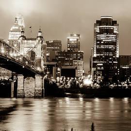 Gregory Ballos - Cincinnati Ohio Skyline and the Ohio River - Sepia