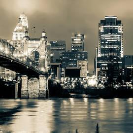 Gregory Ballos - Cincinnati Skyline and Ohio River Sepia 1x1