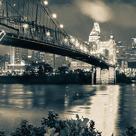 Gregory Ballos - Cincinnati Skyline at Night in Sepia