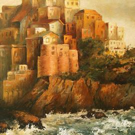 Cinque Terre Lerici Italia painting by Vali Irina Ciobanu
