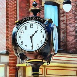 City of Scranton - Street Clock - Brick by Janine Riley