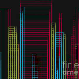 City Scape Buildings in a Grid Design on a Black Background by Barefoot Bodeez Art