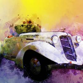 Classic 36 Auburn Speedster Watercolour by Chas Sinklier