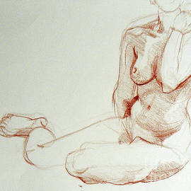 Classic Life Figure Drawing Of A Young Nude Woman  by Greta Corens