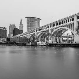 Cleveland Skyline In Black And White  by John McGraw
