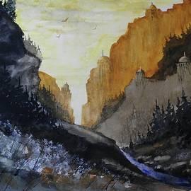 David K Myers - Cliff Sanctuary, Watercolor