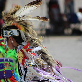 Close Up Of Young Native American Man With Feathered Headdress Paiute Pow Wow by Colleen Cornelius