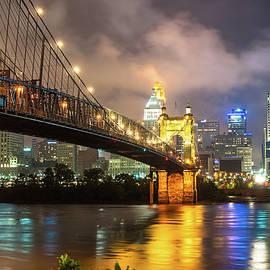 Gregory Ballos - Clouds over the Cincinnati Skyline - Night Cityscape