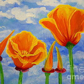 Jackie Carpenter - Cloudy California Poppies Sky Orange Wildflowers Flowers Bright Bold Colors Beautiful