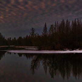 Cloudy Sunrise Over A Spring Fed Pond Panorama by Dale Kauzlaric