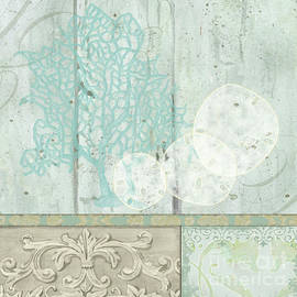 Coastal Trade Winds 1 Square - Sand Dollars Fan Coral Driftwood Watercolor by Audrey Jeanne Roberts