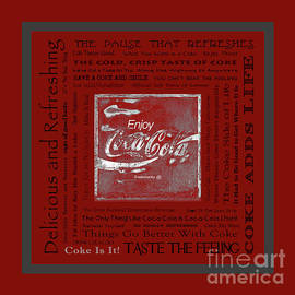 John Stephens - Coca Cola Slogans Poster With Red Background Grey Panel