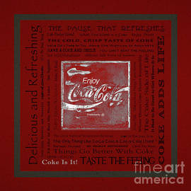John Stephens - Coca Cola Slogans Poster With Textured Red Background Grey Panel
