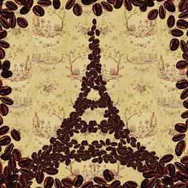 Coffee Beans Watercolor Eiffel Tower French Roast by Irina Sztukowski