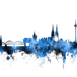 Michael Tompsett - Cologne Germany Skyline Blue Signed
