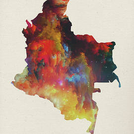 Colombia Watercolor Map - Design Turnpike