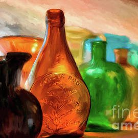 Colored Glass Bottles In The Window by Lois Bryan