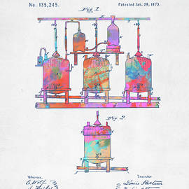 Colorful 1873 Brewing Beer And Ale Patent Artwork - Nikki Marie Smith