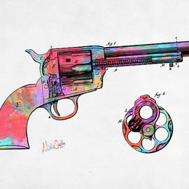 Nikki Marie Smith - Colorful 1875 Colt Peacemaker Revolver Patent Minimal