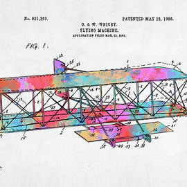 Colorful 1906 Wright Brothers Flying Machine Patent - Nikki Marie Smith