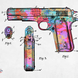 Colorful 1911 Colt 45 Browning Firearm Patent Artwork Minimal - Nikki Marie Smith