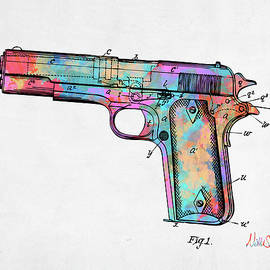 Colorful 1911 Colt 45 Browning Firearm Patent Minimal - Nikki Marie Smith