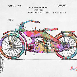 Colorful 1924 Harley Motorcycle Patent Artwork - Nikki Marie Smith