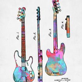 Nikki Marie Smith - Colorful 1953 Fender Bass Guitar Patent Artwork