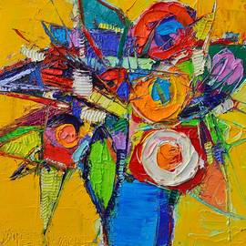 Ana Maria Edulescu - COLORFUL ABSTRACT FLORAL GEOMETRY expressionism impasto knife oil painting  by Ana Maria Edulescu