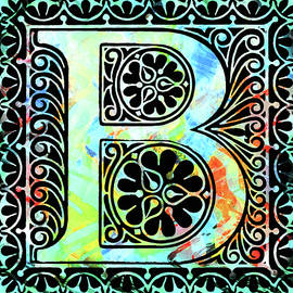 Colorful Ancient Alphabet Letter B Black by Isabella Howard