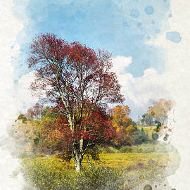 Christina Rollo - Colorful Autumn Tree Watercolor Art