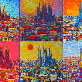 COLORFUL BARCELONA SAGRADA FAMILIA modern impressionist knife abstract cities by Ana Maria Edulescu