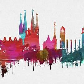 Dan Sproul - Colorful Barcelona Skyline Silhouette