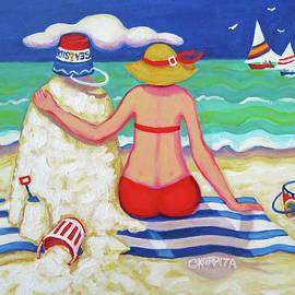 Colorful Beach Woman Sandman by Rebecca Korpita