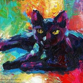 Colorful Black Cat Painting By Svetlana