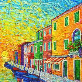 Ana Maria Edulescu - Colorful Burano Sunrise - Venice - Italy - Palette Knife Oil Painting By Ana Maria Edulescu