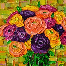 Ana Maria Edulescu - Colorful Buttercups Modern Impressionist Flowers Palette Knife Oil Painting By Ana Maria Edulescu