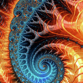 Colorful Luxe Fractal Spiral Turquoise Brown Orange by Matthias Hauser