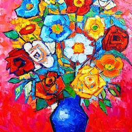 Ana Maria Edulescu - Colorful Roses And Camellias - Abstract Bouquet Of Flowers