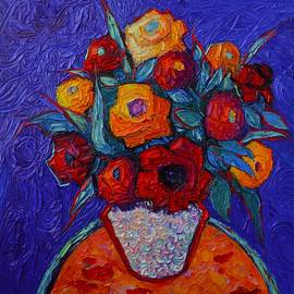 Colorful Roses On Royal Purple Modern Impressionist Impasto Knife Oil Painting By Ana Maria Edulescu
