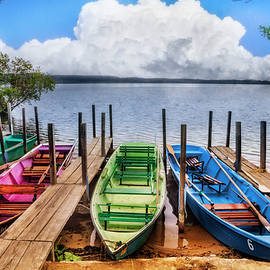 Debra and Dave Vanderlaan - Colorful Rowboats at the Lake