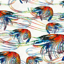 Colorful Shrimp Collage Art by Sharon Cummings by Sharon Cummings