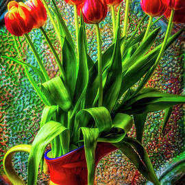 Colorful Vase Of Tulips - Garry Gay