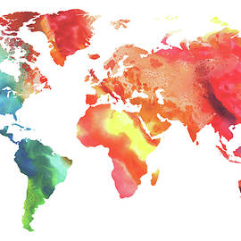 Colorful Watercolor Map Of The World - Irina Sztukowski