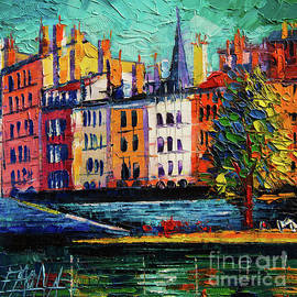 Mona Edulesco - Colorful Waterfront in Lyon France Modern Impressionist palette knife oil painting cityscape