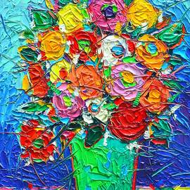 Ana Maria Edulescu - Colorful Wildflowers Abstract Modern Impressionist Palette Knife Oil Painting By Ana Maria Edulescu
