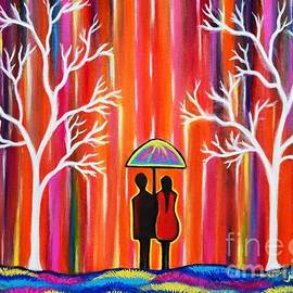 Manjiri Kanvinde - Colors of Love romantic colorful rainy painting