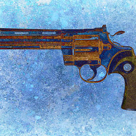 Colt Python 357 Mag On Blue Background. by M L C