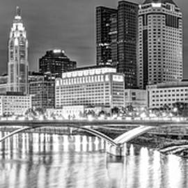 Gregory Ballos - Columbus Skyline At Night Black and White Panorama - Ohio City Photography